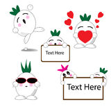 Onion cartoon with five expressions Royalty Free Stock Images