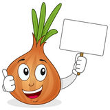 Onion Character Holding a Blank Banner Stock Photography