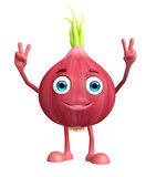 Onion character with win pose Stock Photos