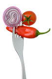 Onion chilli and tomato on a fork Royalty Free Stock Photography