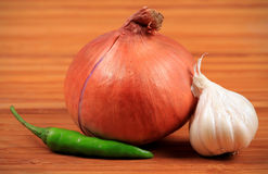 Onion, chilly and garlic Stock Image