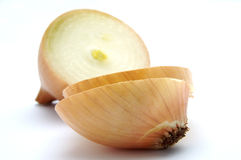 Onion close-up. White onion close-up on the white background Stock Photos