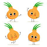 Onion. Cute vegetable character set isolated on white Stock Photography