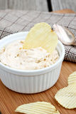 Onion Dip. Bowl of onion dip with chips stock photos