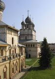 Onion dome houses at summer time Royalty Free Stock Photos