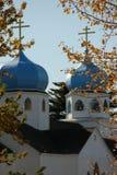 Onion Domes. The Onion Domes of the Greek Orthodox Church on Kodiak Island, Alaska Royalty Free Stock Image