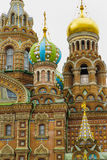 Onion Domes at Russian Cathedral. Onion Domes at the Eastern Orthodox Church of the Savior on Spilled Blood, St Petersburg, Russia Royalty Free Stock Photos