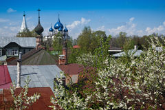 Onion domes of Suzdal. View of blue onion domes of Cathedral of the Nativity of the Theotokos in Suzdal - Russian town of Golden Ring. It is one of the eight Royalty Free Stock Image
