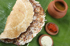 Onion dosa is typically South Indian pancake. Stock Photos