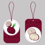 Onion drawing consisting of tag Royalty Free Stock Photos
