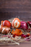 Onion dyed easter eggs. Natural easter egg dyeing orange brown with onion Royalty Free Stock Photography