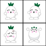 Onion emotion cartoon. Onion cartoon with four expressions vector illustration