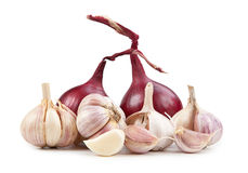 Onion end garlic isolated on white background Stock Photography