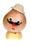 Onion face. Funny onion with face, hat and googly eyes stock photos