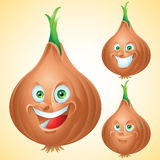 Onion face expression cartoon character set Stock Image