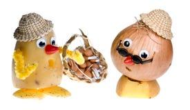 Onion face and potato head Stock Photography