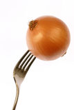 Onion on fork Stock Photos