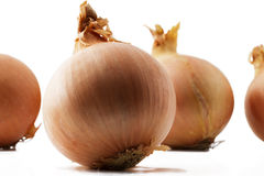 Onion in front of some. Closeup of one onion in front of some other onions Royalty Free Stock Photo