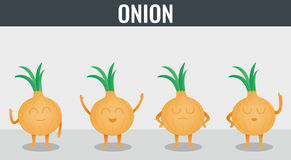 Onion. Funny cartoon vegetables. Organic food. Vector Stock Image