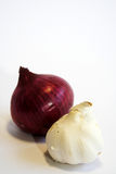 Onion and garlic. Red onion and garlic royalty free stock images