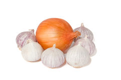 Onion and garlic. White isolated onoin, surrounded by garlic Stock Photos