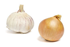 Onion and garlic. Garlic bulb and whole onion over white background royalty free stock image
