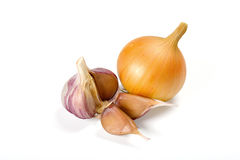 Onion and garlic. On white background royalty free stock photos
