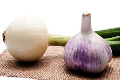 Onion and garlic on an  background Stock Photography