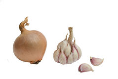 Onion, garlic bulb and cloves Stock Images