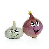 Onion and garlic cartoon Stock Images