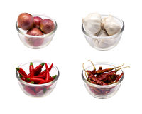 Onion, garlic, chili and dry chili for ingredient food. Onion, garlic, chili, dry chili on white background Royalty Free Stock Photo
