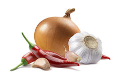 Onion garlic chili pepper isolated on white background. As package design element stock photo