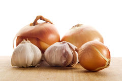 Onion and garlic clove Stock Photography