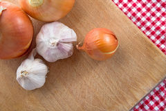 Onion and garlic clove Royalty Free Stock Photography