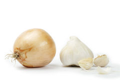 Onion with garlic and garlic cloves Stock Images