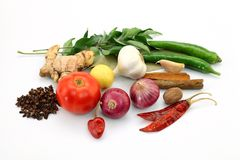 Onion, garlic, ginger and red chilli isolated on w Royalty Free Stock Photography