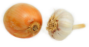 Onion and garlic isolated Royalty Free Stock Photography