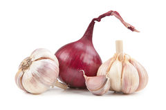 Onion and garlic isolated on white background stock images