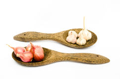 Onion and garlic. In ladle on white background Royalty Free Stock Images