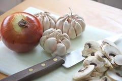 Onion garlic mushroom Stock Photo