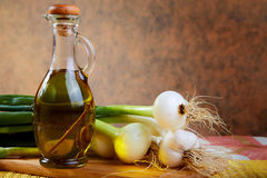 Onion and garlic with an olive oil Stock Images