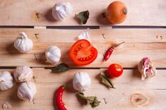 Onion, garlic and pepper Royalty Free Stock Photos