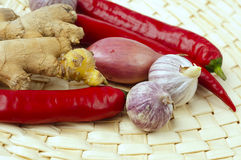 Onion, garlic, and root ginger Royalty Free Stock Images