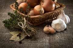 Onion, garlic, sheaf thyme, bay leaf in a wicker basket whi. Bulb onion, garlic, sheaf thyme, cloves, bay leaf in a wicker basket which stands on burlap Stock Image