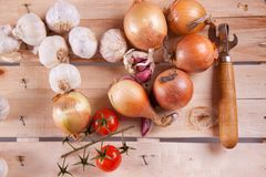 Onion, garlic and tomato Stock Photography