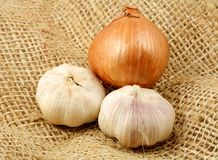 Onion and garlics Royalty Free Stock Photo