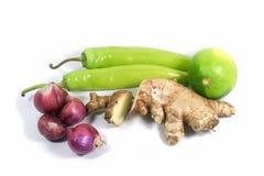 Fresh Onion, Ginger, Lemon, Chili Pepper. Onion, Ginger, Lemon, Chili Pepper on white background royalty free stock photography