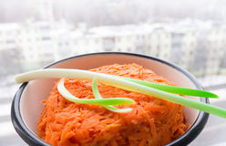 The Onion and grated carrots. Royalty Free Stock Images