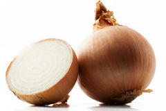 Onion and a half. One onion and a half onion on white background royalty free stock photos