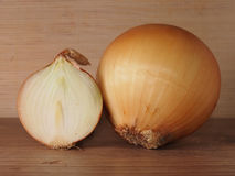 Onion. A half of an onion in a section Stock Image